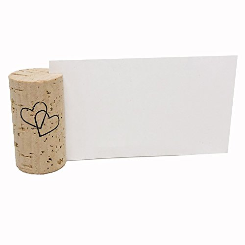 Wine Cork Place Card Holders Custom Cork Card Holders Vertical Double Heart set of 25 Includes Place Cards Escort Card Rustic Wine Cork Table Décor Wine Theme Vineyard Wedding Cork Placecard ()