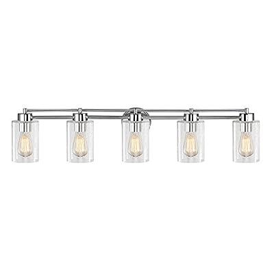 Seeded Glass Bathroom Light Chrome 5 Lt