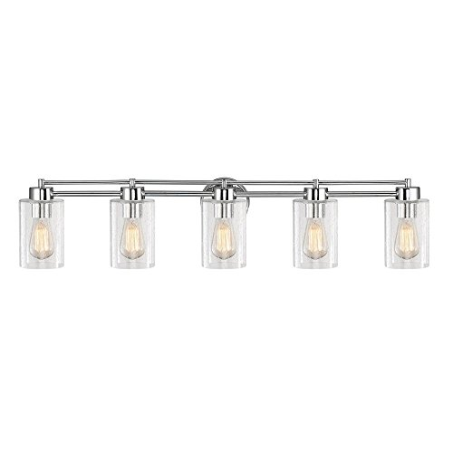 Design Classics Lighting Seeded Glass Bathroom Light Chrome 5 Lt