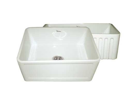 Whitehaus WHFLCON2418 24-Inch Reversible Series Fireclay Sink with Concave Front Apron One Side andFluted Front Apron on Other