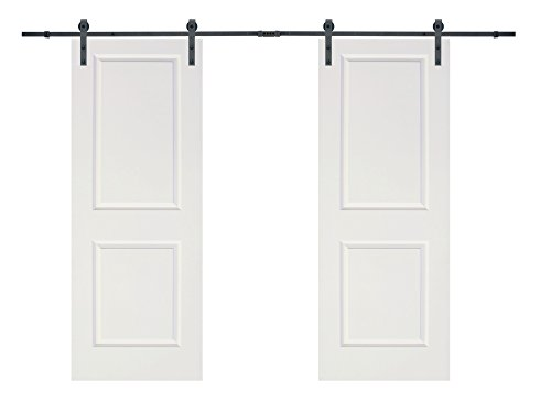TMS 12FT Black Steel Barn Sliding Door Hardware Set w/ 2x30'' Wide White Door Slabs by TMS