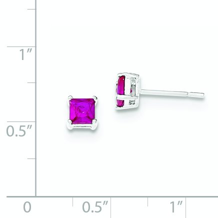 4MM Sterling Silver Polished Red Glass Post Earrings