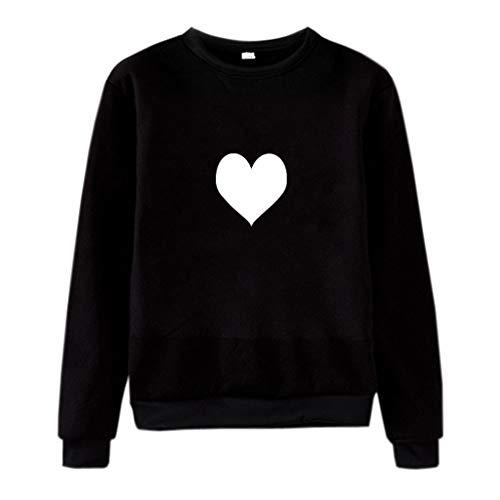 Dermanony Couple Long Sleeve Pullover Unisex Men Women Casual O-Neck Sweatshirt Cute Heart Printed Pullover ()