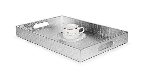 """Beautiful Modern Silver 18""""x12"""" Rectangle Glossy Alligator Croc Decorative Ottoman Coffee Table Perfume Living Dining Room Kitchen Serving Tray With Handles By Home Redefined For All Occassions"""