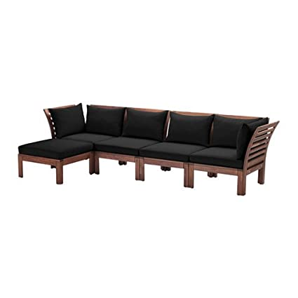 Amazon.com: Ikea 4-seat sofa with footstool, outdoor, brown ...