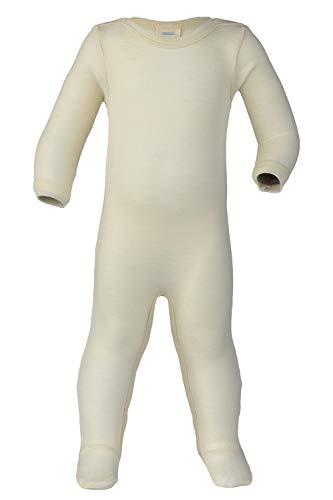 Footed Sleep Play: Organic Wool Silk Footie Sleeper Pajamas Baby Boys Girls (EU50-56 | 0-3 Months, Natural) -