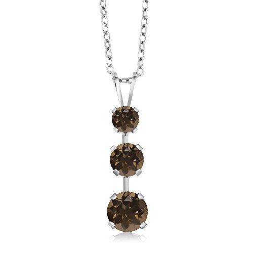 Gem Stone King 1.52 Ct Round Brown Smoky Quartz 925 Sterling Silver 3 Stone Pendant ()
