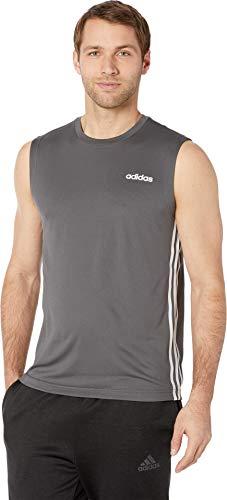 adidas Men's Design 2 Move 3-Stripes Training Tee, Grey, Large