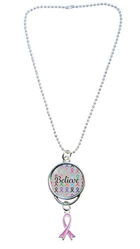 (Believe Ribbon Silver Rear View Mirror Car Truck Charm Awareness Gift Choose Ribbon Color (Pink))