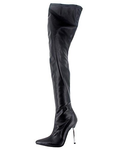 Wonderheel metal heel matt leather fetisch over-knee crotch stiefel