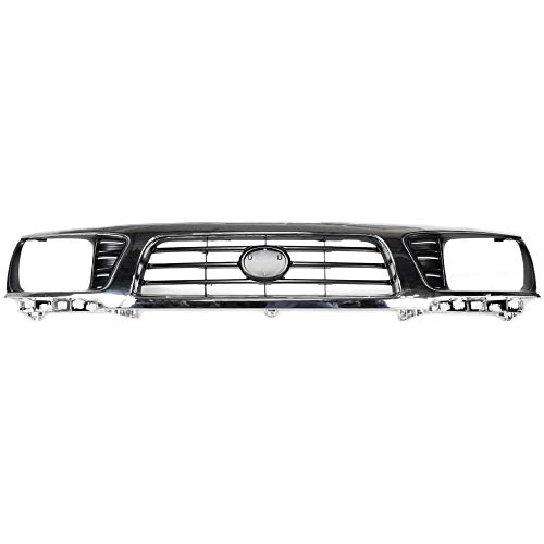 Grille Compatible with Toyota Tacoma 95-97 Chrome Shell/Painted-Black Insert 4WD