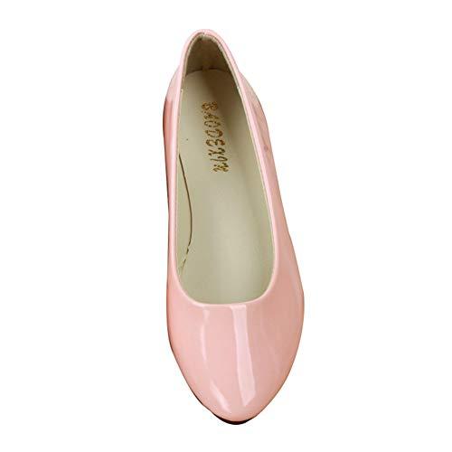 Donna Elegante Flat Casual Scarpe Ballerine Pink Bocca Piatto Singole 6gqawRwx
