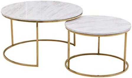Mesas de Centro Mesa de Centro Redonda de 2 Piezas con mesas de café, Muebles Decorativos de mármol Blanco Falso/Dorado, para la Bandeja de TV del Comedor en el hogar, Estable sin