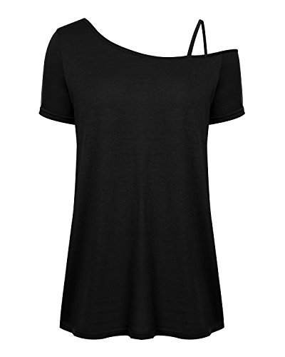Mixfeer Women's Off Shoulder Short Sleeve Tops Loose Fit T Shirts Asymmetrical Hem with Spaghetti - Shell Spaghetti Strap