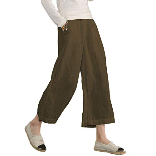 Ecupper Women's Elastic Waist Causal Loose Trousers 100 Linen Cropped Wide Leg Pants Dark Brown, US 6=Tag S