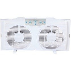 OPTIMUS F-5286 8'' REVERSIBLE TWIN WINDOW FAN WITH THERMOSTAT
