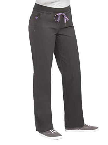 Med Couture Signature Women's Flex-It Yoga Drawstring Scrub Pant Charcoal/Signature Purple XS - Signature Drawstring Pants
