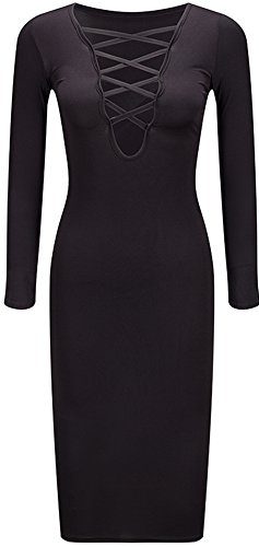 Bewish Sexy Col V Femmes À Long Automne Chaud Manches Robe Bandage Partie Stretch Noir