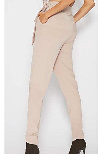 Pantalon En Tissu Éclair Fermeture La Haute Poches Printemps Lady Taille Cravate Bandage Élégant Rétro Des Confortable Beiger Long Libre Fit Été Avec Mode Temps Mince De qOa66XYw0