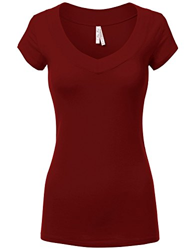 Fitted Basic Deep V-Neck Short-Sleeve Cotton Tops T-Shirts 019-Burgundy US S (Cotton Pocketed Henley T-shirt)