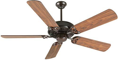 Craftmade K10832 Downrod Mount, 5 Walnut Blades Ceiling fan, Oiled Bronze (Oiled American Walnut)