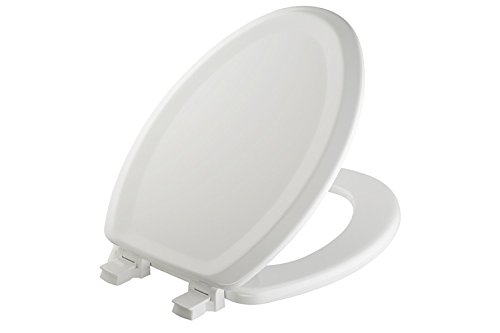MAYFAIR Sculptured Traditional Toilet Seat will Never Loosen and Easily Remove, ELONGATED, Durable Enameled Wood, White, 125ECA 000 (Ceramic Toilet Seat Cover)