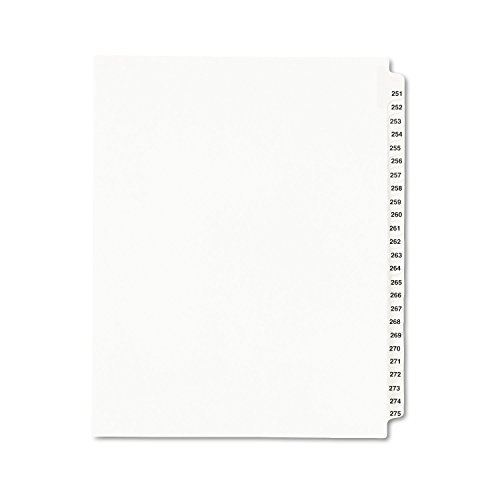 Collated Legal Divider Set - Avery Legal Dividers, Standard Collated Sets, Letter Size, Side Tabs, 251-275 Tab Set (01340)