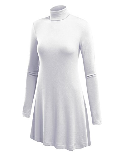 WT992 Womens Long Sleeve Turtleneck Sweater Tunic with Various Hem S -