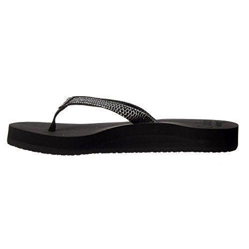 Reef de las mujeres Estrella Cojín Sassy Flip Flop Sandal - Negro/plata, Marrón/blanco Negro/plata