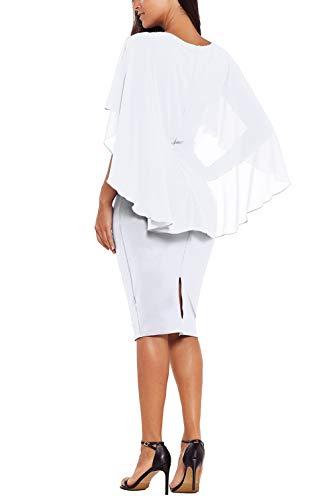 Ruffle Dress Kyices White Ruched Womens Sleeve Bodycon Cape Chiffon Dress Midi wxxZU1E