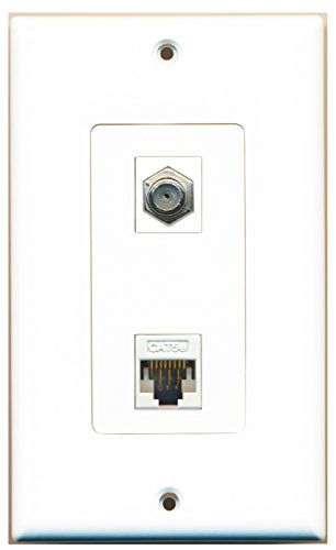 RiteAV - 1 Port Coax Port Cable TV F Type - 1 Port Cat5e Ethernet White Decorative Wall (1 Port Cat5e Wall Plate)