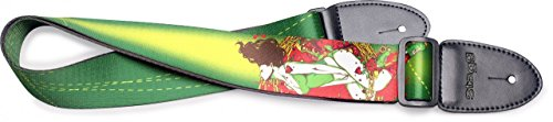 Stagg STE PINUP GREEN Adjustable Length Ethylene Pin Up Girl Motif 2-Inch Wide Guitar Strap - Green