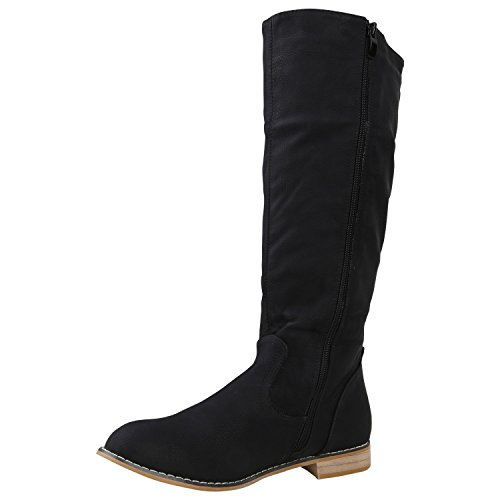Stiefelparadies Klassische Damen Stiefel Langschaftstiefel Velours Schnallen Schuhe Blockabsatz Damenstiefel Flandell Schwarz Camiri