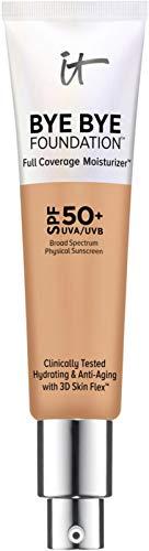 2018 NEW FORMULA - Neutral Tan - IT Cosmetics Bye Bye Foundation Full Coverage Moisturizer with SPF 50+. 1 oz-30 ml