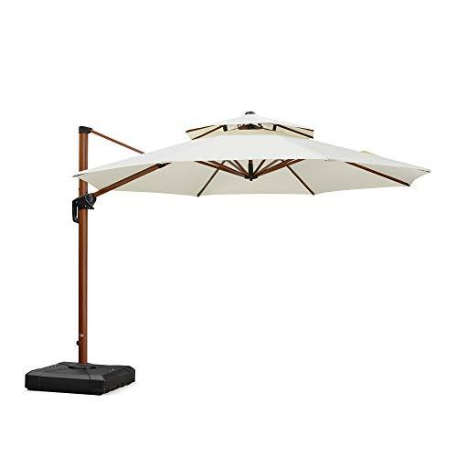 PURPLE LEAF 11 Feet Double Top Deluxe Wood Pattern Patio Umbrella Offset Hanging Umbrella Cantilever Umbrella Outdoor Market Umbrella Garden Umbrella, Cream