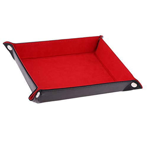 Fityle Red PU Leather Foldable Dice Rolling Tray for Watch