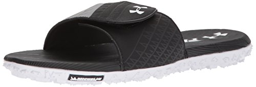 Under Armour Men's Fat Tire Slides Sandal, Black (002)/Steel, 11 M US (Michelin Tire Man)