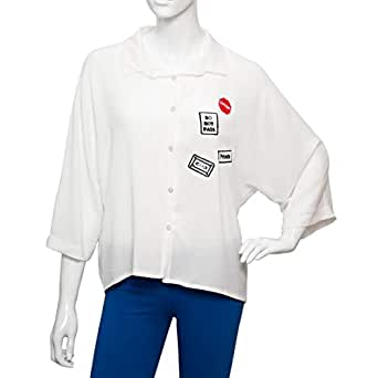 Parkhande White Polyester Shirt Neck Shirts For Women