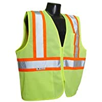 Radians SV22-2ZGM-3X Polyester Mesh Economy Class 2 High Visibility Zipper Closure Vest with Two-Tone Trim, 3X-Large, Green by Radians