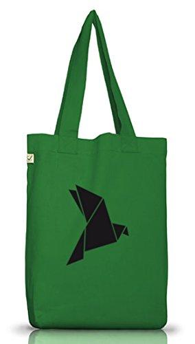 Shirtstreet24, Origami Vogel, Tier Natur Jutebeutel Stoff Tasche Earth Positive (ONE SIZE) Moss Green