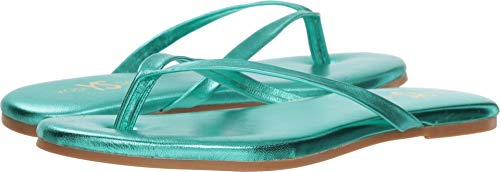 Yosi Samra Women's Rivington Ballet Flat, Seafoam Metallic Leather, 9 Medium US (Metallic Leather Flats Ballet)