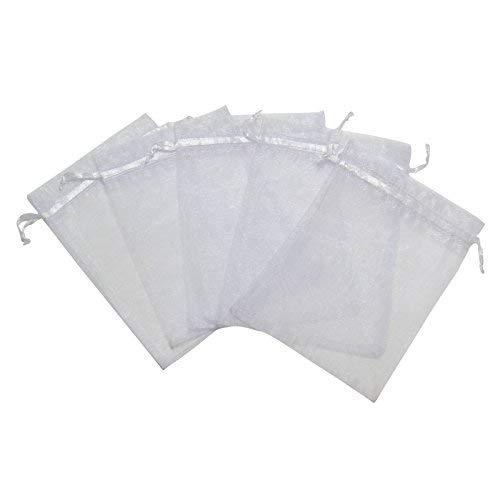 RakrisaSupplies 100Pcs White Organza Bags 5x7 w/Drawstring | Accurate Sizing, Reinforced Stitching & Crease Free Sheer Organza Pouches | OB57-01