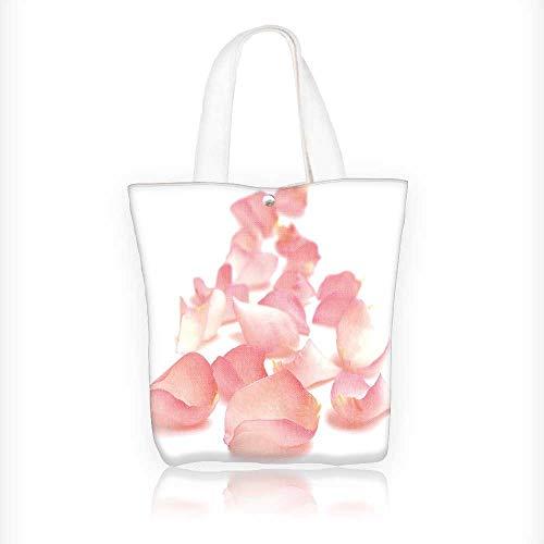 Ladies canvas tote bag rose petals border reusable shopping bag zipper handbag Print Design W11xH11xD3 INCH -