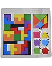 Houten Intelligentie Puzzel Tetris 39 Stks Tangram Jigsaw Brain Teaser Toy voor Kids Hout Puzzel Hersenspel Bouwsteen Intelligentie Educatief Cadeau voor Peuters, Drie in een puzzel