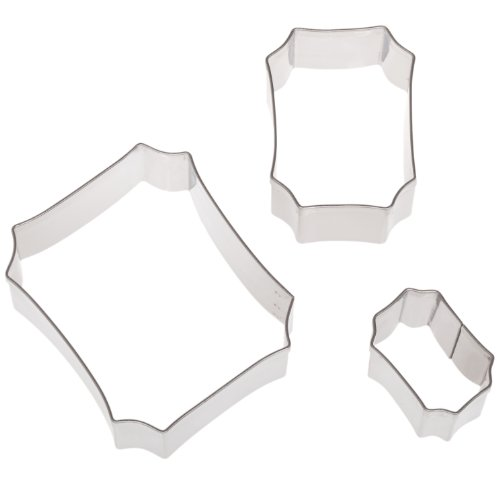 e Plaque Shaped Cutter Set in Assorted Sizes, Stainless Steel, 3 Pc Set (Shaped Cookie Cutter)