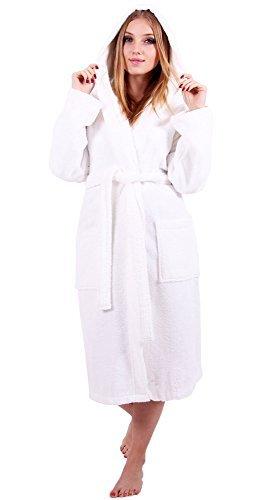 (Turkuoise Women's Turkish Cotton Hooded Robe, Terry Hooded Bathrobe (Small, White))