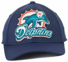 Miami Dolphins New Era 3930 Flex Fit Hat Cap Size Large / X-Large XL Fits 7 3/8 through 7 3/4 NFL Authentic & NEW