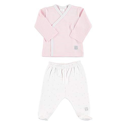 Petit Oh! - Conjunto de Primera Puesta 100% algodón Pima Talla 0-3 Meses Color listado Rosa y Estrella Rosa