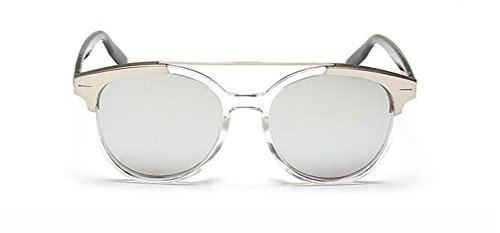 GAMT Fashion Brushed Aluminum Panels Oval Sunglasses Full Frame UV Protection Designer Sun Glasses Silver (Rectangular Shaped Panels)