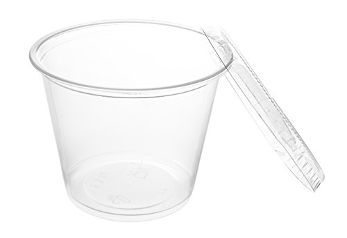 Crystalware, Disposable 5oz. Plastic Portion Cups with Lids, Condiment Cup, Jello Shot, Souffl� Portion, Sampling Cup, 100 Sets ? Clear